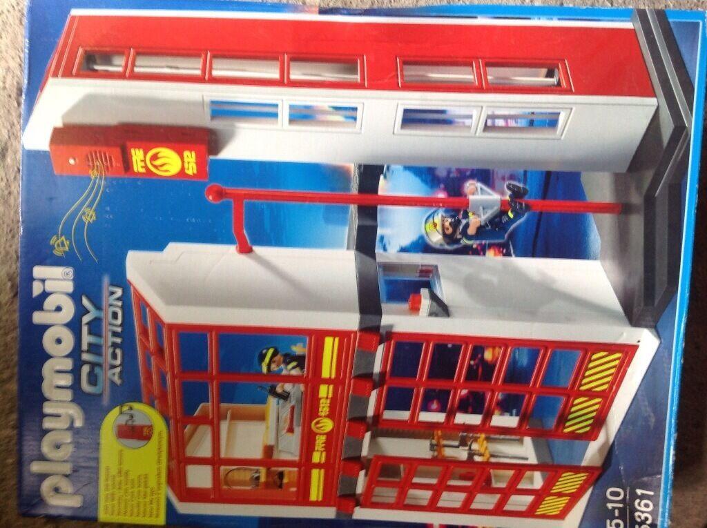 Lego Playmobil 5361 City Fire Brigade Station With Alarm Brand New