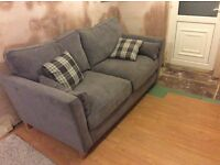 Baxter large sofa in Bristol pewter with kintyre charcoal check scatters