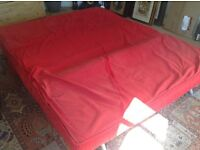Ikea PS sofa bed red with spare covers (green) and goose mattress topper