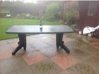 Weatherproof plastic dining table seats 6/8 in good condition suit patio/garden entertaining