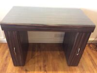 Concept spa manicure table brown wood really sturdy glass top lots of storage space