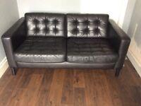 Ikea 2 seater black leather sofa