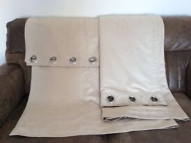 Beige Eyelet Curtains (Suede-like style)