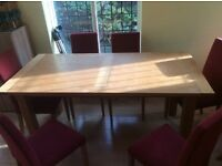 Large Pine Kitchen Table & 6 Chairs
