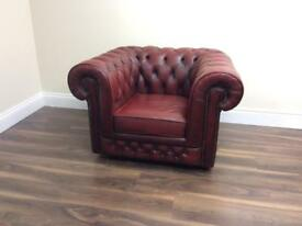 Ox blood red chesterfield tub chair