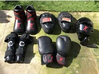Kickboxing protective wear and pads