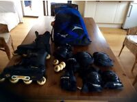 INLINE ROLLER BLADES WITH SAFETY EQUIPMENT AND SPARES