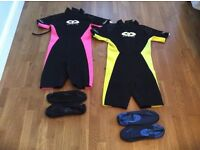 Childrens wetsuits with waterproof shoes