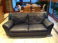 3 seater and 2 seater blue leather sofas