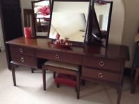 Stag Dressing Table with galley mirror and stool