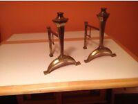 Pair of brass firedogs.