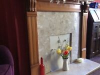 Fire place / surround and hearth marble and wood