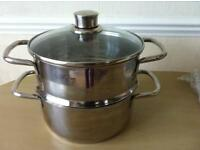 Stainless steel one tier steamer as new used once
