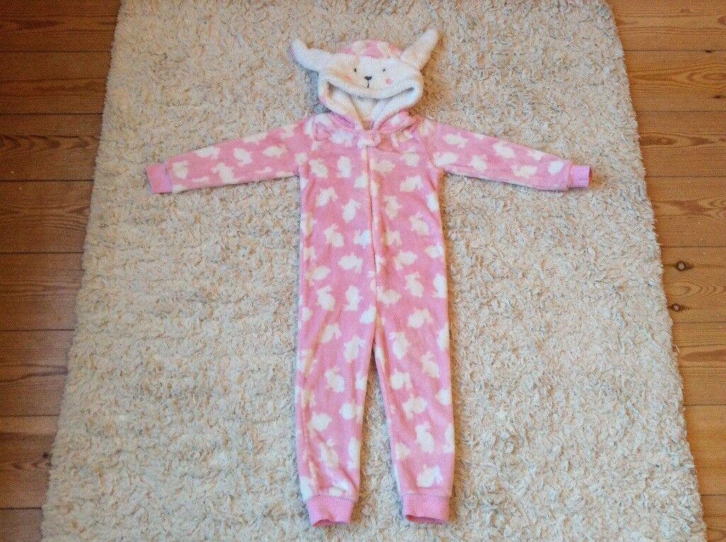 Pink rabbit onesie, warm and fleece material, Matalan 4-5 years, excellent condition