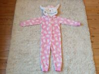 Pink rabbit onesie, warm and fleece material, Matalan 4-5 years, excellent condition