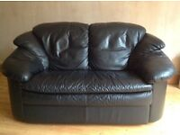 2 seater black leather sofas