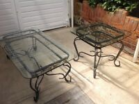 Glass Top Wrought Iron Metal Tables x 2