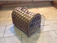 Cat carrying basket, wicker with metal door