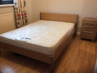 Double Bed, mattress and bedside cabinet