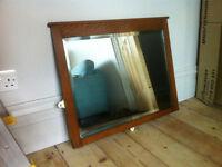 Antique style, rectangular, dark wood mirror