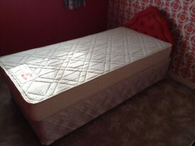 A Slumberland Crown Hardly Used Single Bed with Mattress and Headboard