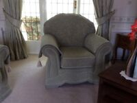 Pale green settee and 2 armchairs
