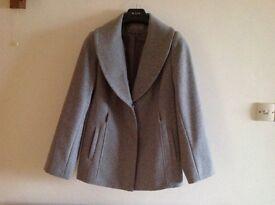 "Grey jacket with detachable ""fur "" collar"