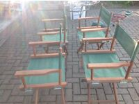 Teak and canvas directors chairs