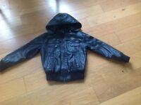 Boys black faux leather fleece lined jacket age 12