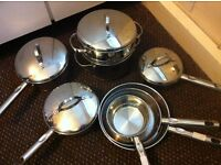 Morphy Richards PROFESSIONAL Top Range Stainless Steel & Copper Set of 7 Kitchen Pans and Pots