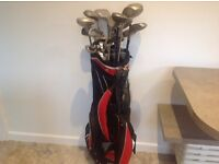 Golf bag and clubs.