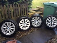 4 x BMW GENUINE alloy wheels with winter run flat tyres
