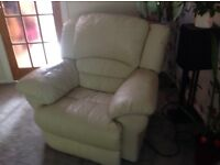 2 piece cream leather electric recliner