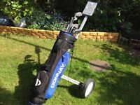 Ladies half set of golf clubs bag and trolley