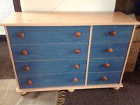 Kids blue bedroom furniture set.wardrobe, shelving unit and set of drawers.