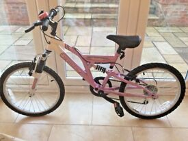 "Terrain Vesuvius 20"" Girls Dual Suspension Mountain Bike in pink & white"