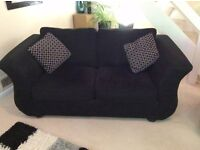 2 x BLACK MATCHING 2 SEATER SOFAS FOR SALE