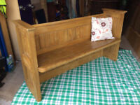Antique Pine Church Pew with shelf.