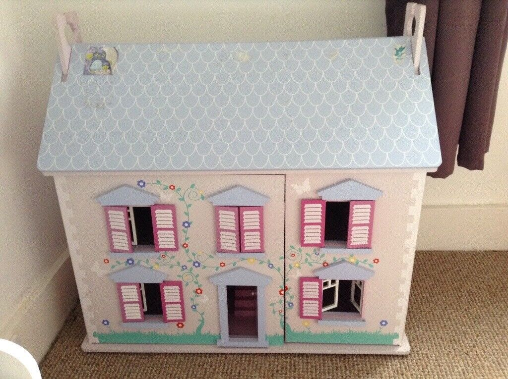Wooden Dolls House Two Storeys And Attic Space With A Lift Up Roof
