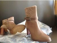 Brand new Clarks Leather & Suede Ankle Boots - Kacia Garnet. Size 38