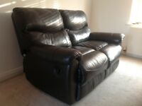 Leather reclining Sofa & Armchair plus matching Beanbag