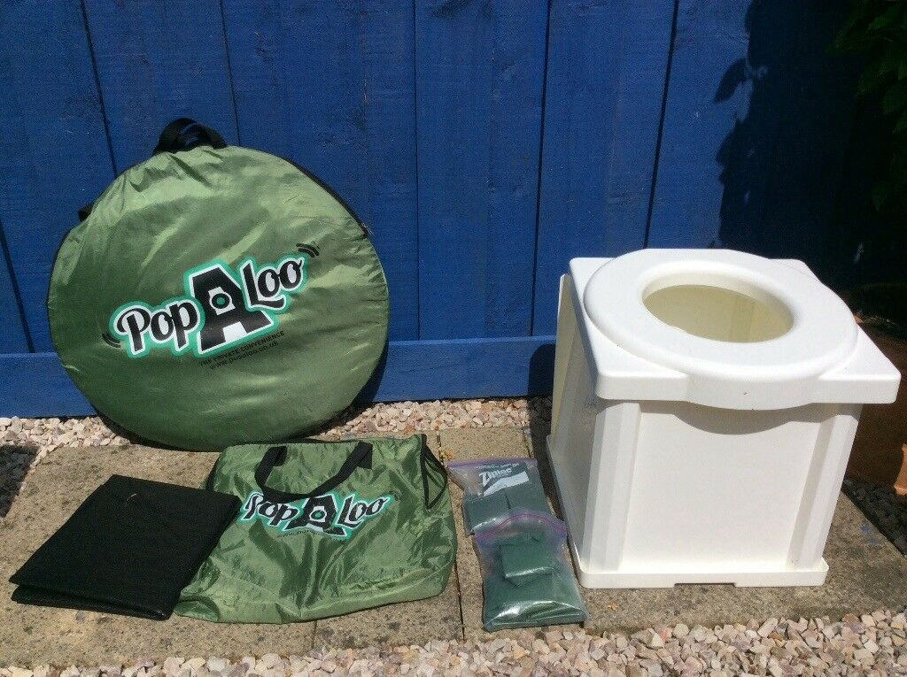 Portable Camping Toilet : Portable camping toilet popaloo utility tent and powder waste bags in