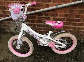 """Children's hello kitty bike for sale 16"""" wheel with stabilisers"""