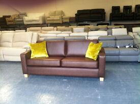 New Ohio vintage mocha hide 3 seater large sofa