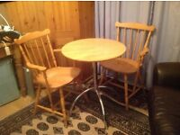 Small pine Bistro style Table and chairs.
