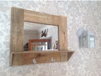 Mirror shelf key hook