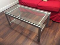 Glass Top Coffee Table with Glass Shelf