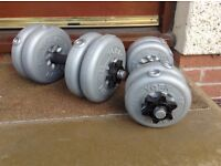 2 York barbells. Total weight 15kg