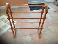 Free standing pine towel rail