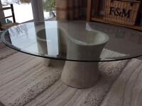 Heavy glass and stone coffee table